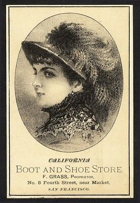 BOOT SHOES San Francisco California Victorian Trade Card 1880's Prices on Back
