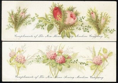 BOOKMARKS 2 Floral NEW HOME SEWING MACHINE Victorian Trade Cards 1880's
