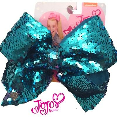JOJO Siwa Bows 🎀 Signature Collection, LARGE Turquoise Sequin, Cheer Bows