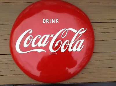 Original  1950's 16in. Metal Coke Button Sign Untouched