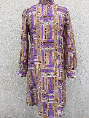 TRUE VINTAGE 60's 70's KITSCH ART PRINT COTTON SHIFT DRESS 12 M  STYLISH GRAPHIC