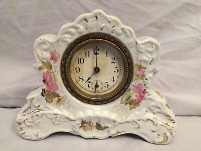 Antique Sessions Mantle Clock Wind Up Porcelain/Ceramic