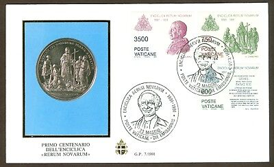 """Vatican City Sc# 882-4, Encyclical """"Rerum Novarum"""" on First Day Cover"""