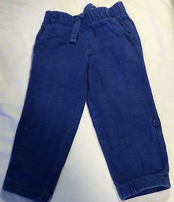 Gymboree Baby Boy's 18-24M Royal Blue Elastic Waist Pants/Legs Roll and Button