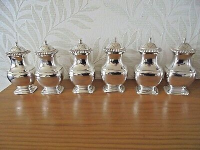 6 X Mappin & Webb Silver Plated on Copper Pepperettes