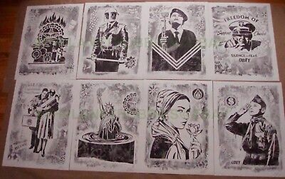 "Obey Giant ""damaged"" Art Show 8 Offset Print Set Shepard Fairey Signed Sold Out"