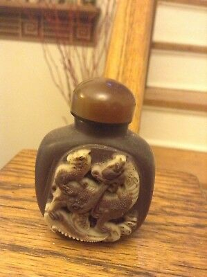 Hand Carved Edwardian Import Chinese Natural Hard Stone Snuff Bottle