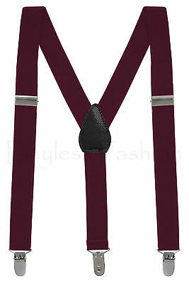 Buyless Kids and Baby Elastic Adjustable 1 inch Suspenders - Burgandy - Size ...