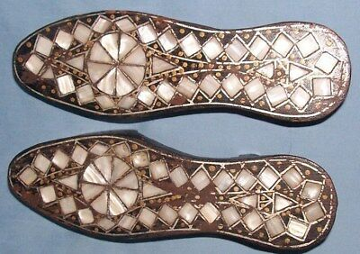Antique Bathing Shoes Sandal Ottoman Turkish Mother of Pearl Wooden Silver Inlay