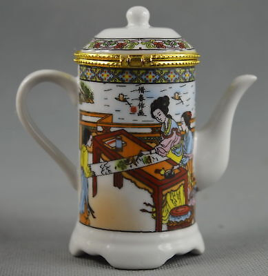 Fine Collectable Decorative Porcelain Paint Belle & Scenery Usable Toothpick Box