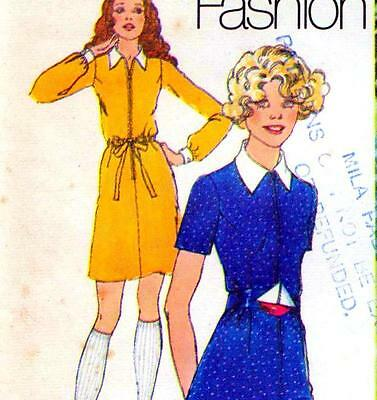 """Vintage 70s DRESS Sewing Pattern Bust 34"""" Size 10 RETRO Collar & Cuffs REVIVAL"""