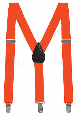 Buyless Kids and Baby Elastic Adjustable 1 inch Suspenders - Orange - Size 22...