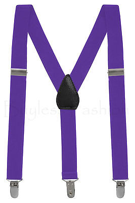 Buyless Kids and Baby Elastic Adjustable 1 inch Suspenders - Purple - Size 30...