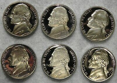 6 Beautiful USA High Grade Proof Jefferson 5 cent Nickels all with s mint marks