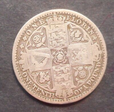 """Great Britain 1849 Victoria """"Godless""""   silver florin"""
