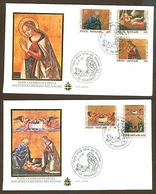 Vatican City Sc# 865-9, Christmas 1990 on 2 First Day Covers