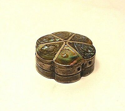 """VINTAGE """"6-LOBE HINGED"""" STERLING SILVER & ABALONE PILL BOX, Signed """"ELM""""-MEXICO"""