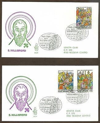 Vatican City Sc# 858-60, St. Willibrord on 2 First Day Covers
