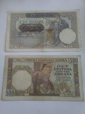 1941 100 and 500 DINARA YUGOSLAVIA NAZI OCC CURRENCY BANK NOTES MONEY BILL WWII