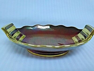 Carlton Ware Rouge Royale Double Handle Oval Gold Rimmed Bon Bon Dish