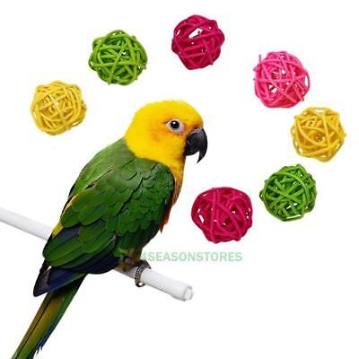 10pcs Great Rattan Pet Bird Parrot Claw Chew Toys Birds Swing Ball Cage Parakeet