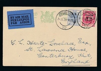 Orange River Colony. 1934. Old airmail postcard to England