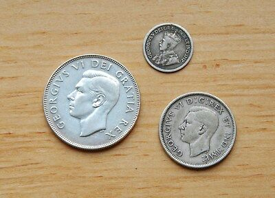 Canada Silver Coins - 50 cents 1950, 25 cents 1942, 5 cents 1913