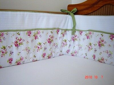 NEW Baby girl's vintage flowery floral BUMPER with roses nursery bedding