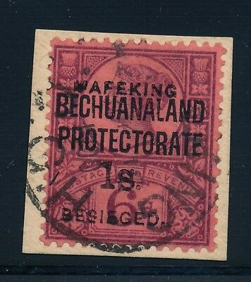 Mafeking. 1900. 1 s.. on 6 d. Used on piece with certificate