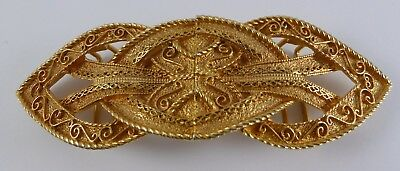 Vtg. Accessocraft Ornate Gold Tone Metal Double Buckle w/ faux. Leather Belt