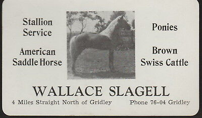 Vintage Wallace Slagell Stallion Service Business Card Gridley Illinois