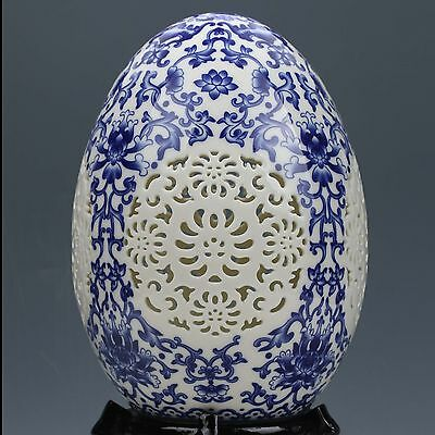 Chinese Blue and white porcelain Hand-Painted Flower Spherical Vase G118