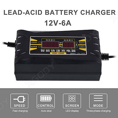 Car Automatic Battery Lead Acid Charger Motorcycle 12V Intelligent LCD 1206D