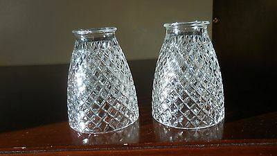 Pair of  Diamond Point Clear Glass Light Shades/Globes