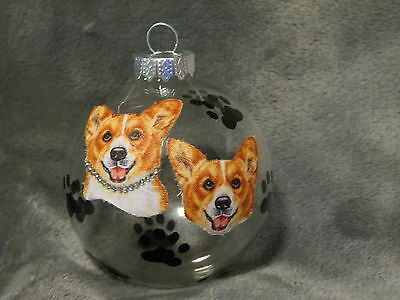 Hand Made Corgi Glass Christmas Ornament / Ball