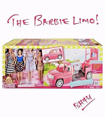 Barbie® Pink Limo & 4 Fashionista Dolls Gift Set - Age 3+ EXTENDS to 61CM - NEW!