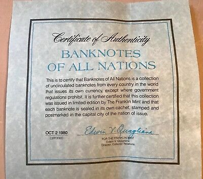 Franklin Mint Banknotes of All Nations Paper Money Canada China Japan Egypt 1980