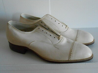 Vintage 30's 40's Spade Sole Cap Toe White Leather Sole Lace up Shoes 6.5 M