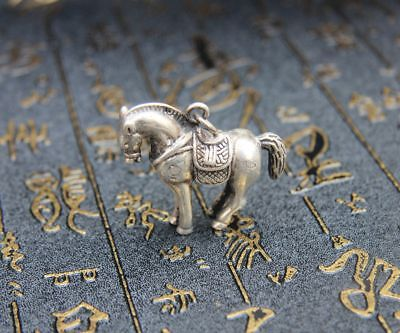 4.5 CM Miao Silver Handwork Chinese Zodiac Aniaml Lucky Horse Amulet Pendant
