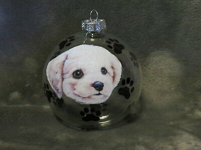 "Hand Made Bichon Frise Puppy  Dog 4"" Glass Christmas Ornament/ball"