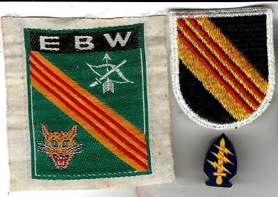 VN War Special Forces patch group,AIRBORNE. 5th Gp flash,silk woven EBW,& SF pin