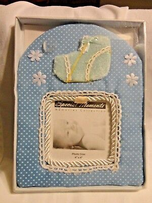 Blue Fabric Baby Boy Picture Frame 8 X 6 for 4 X 4 Photo by Greenbrier Int. New