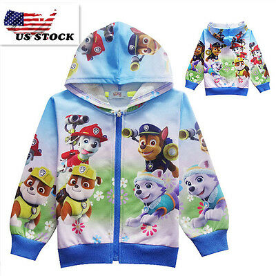 2018 Spring Paw Patrol Unixes Hoodie Kids Pocket Zip-Up Jacket Sweatshirt