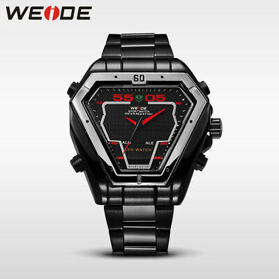 WEIDE Men's Features Triangle Alloy Case Alarm Stainless Steel LCD Display Watch