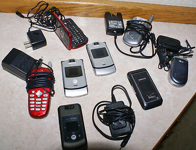 Lot of Old Cell Phones, Verizon, LG, Samsung, Motorola, & Chargers