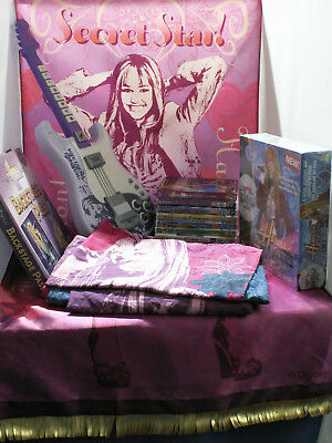 Hannah Montana Collection DVDs, Duvet, Book, DVD Game, Wall Hanging and Guitar