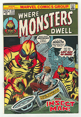 WHERE MONSTERS DWELL 19 (1973) Insect Men! High-grade NM- 9.2