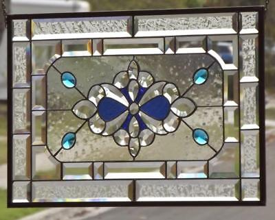 "• BURST • Beveled Stained Glass Window Panel ≈ 24 3/4""x 16 3/4""(63x42Cm)"