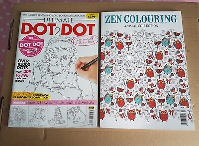 Zen Colouring Magazine -Animal  Collection & ultimate  DOT2DOT brand new