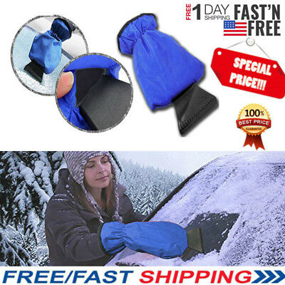 Car Ice Scraper Windscreen Window Snow Frost Winter Fleece Lined Blue Mitt Glove